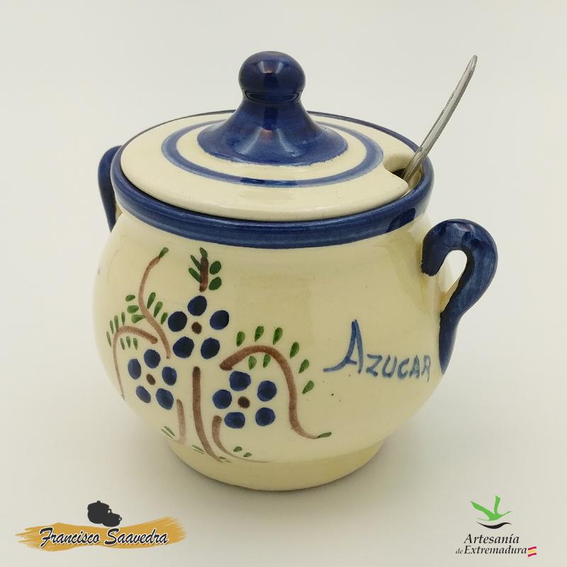 """Azucarero de cerámica """"Ramito Azul"""""""