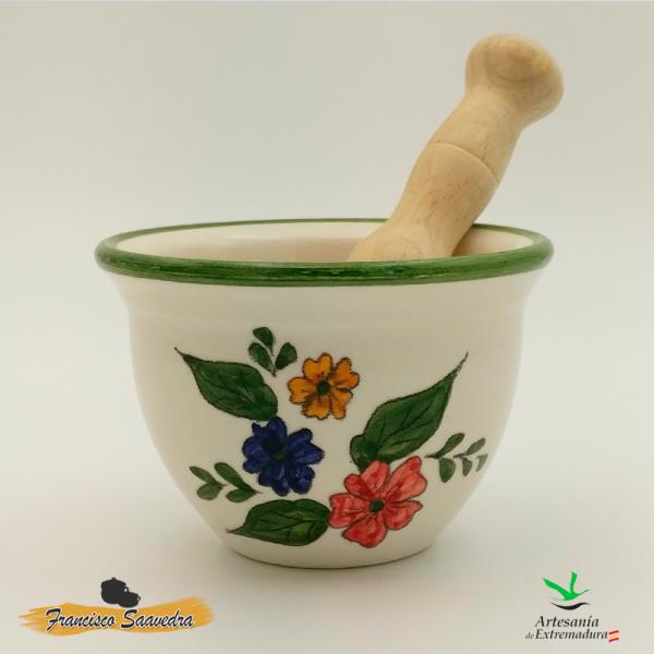 """Mortero de cerámica, con mazo de madera """"Tricolor"""""""